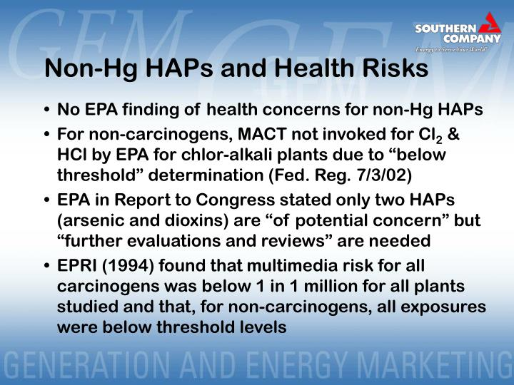 Non-Hg HAPs and Health Risks