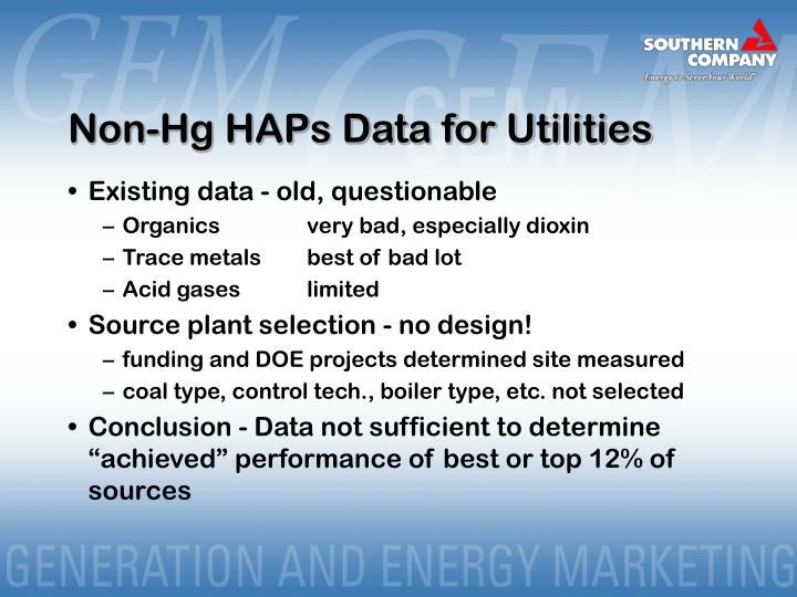 Non-Hg HAPs Data for Utilities