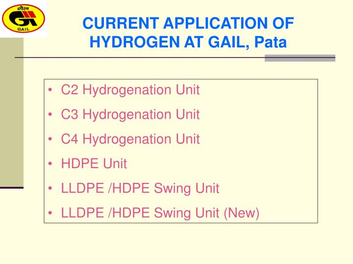 CURRENT APPLICATION OF HYDROGEN AT GAIL, Pata