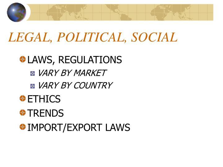 LEGAL, POLITICAL, SOCIAL
