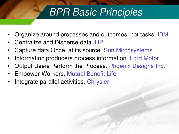 BPR Basic Principles