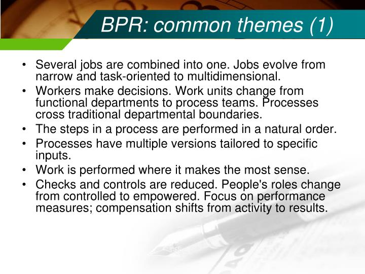 BPR: common themes (1)