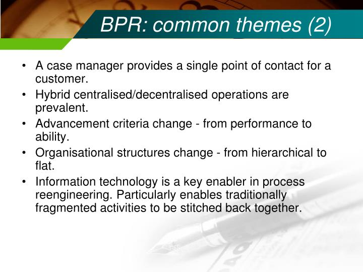 BPR: common themes (2)