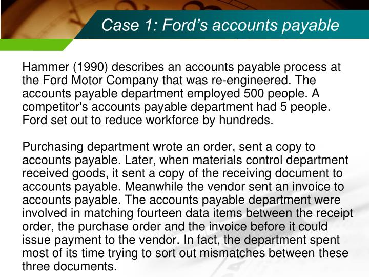 Case 1: Ford's accounts payable