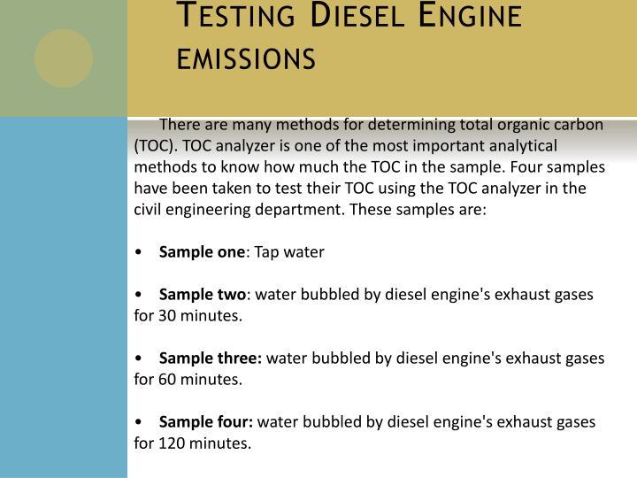 Testing Diesel Engine emissions