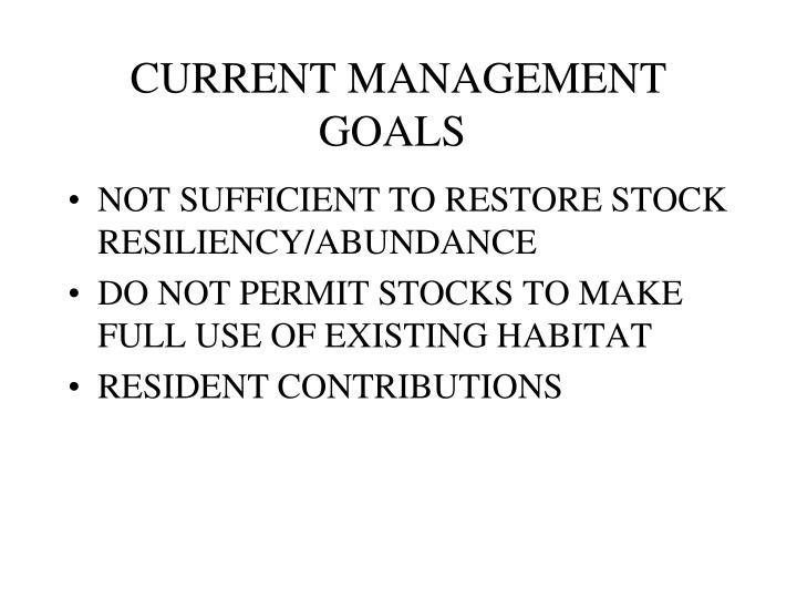 CURRENT MANAGEMENT GOALS