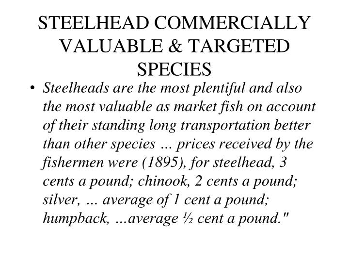 STEELHEAD COMMERCIALLY VALUABLE & TARGETED SPECIES
