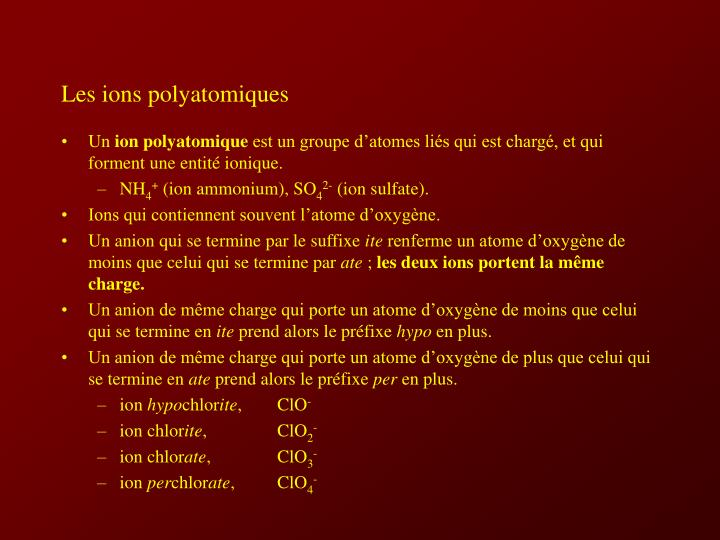 Les ions polyatomiques