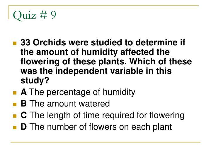 Quiz # 9