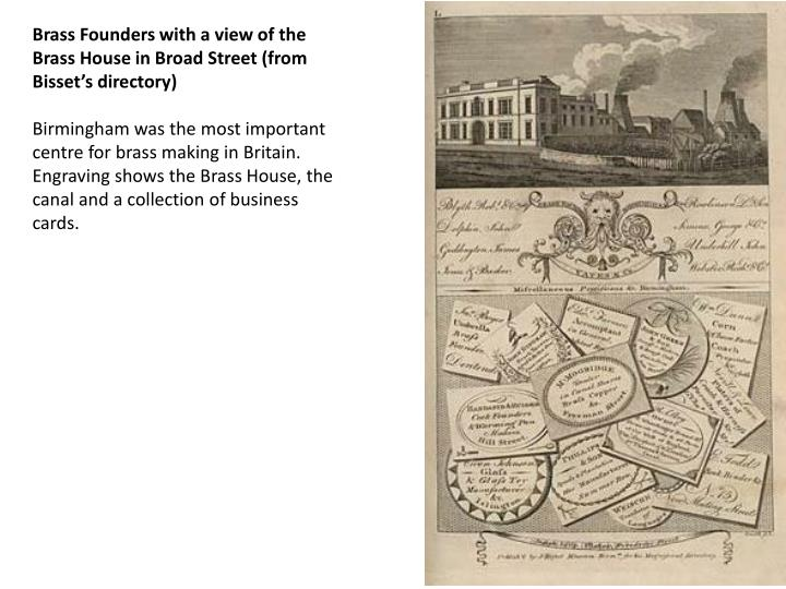 Brass Founders with a view of the Brass House in Broad Street (from Bisset's directory)
