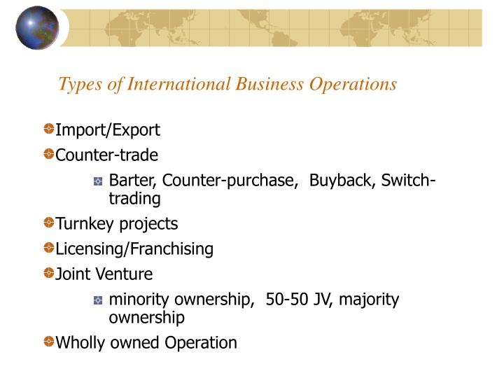 Types of International Business Operations