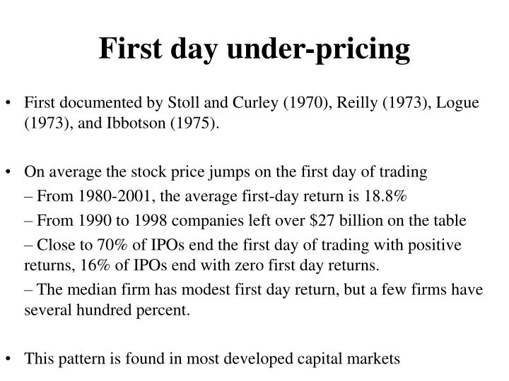 First day under-pricing
