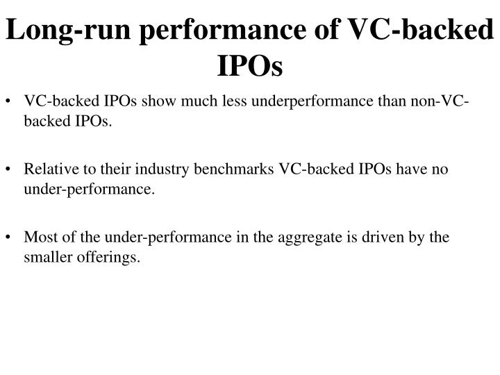 Long-run performance of VC-backed IPOs