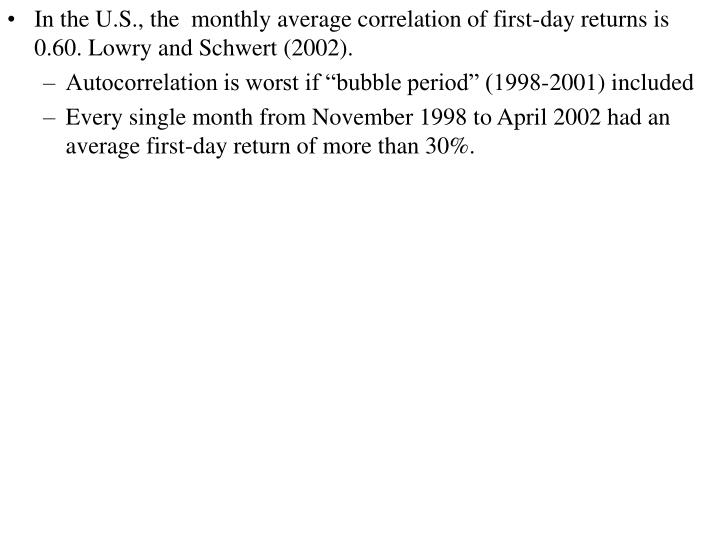 In the U.S., the  monthly average correlation of first-day returns is 0.60. Lowry and Schwert (2002).