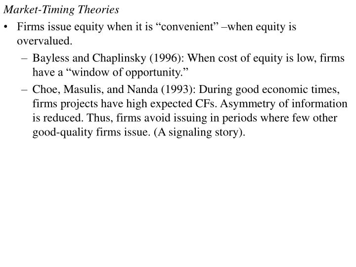 Market-Timing Theories