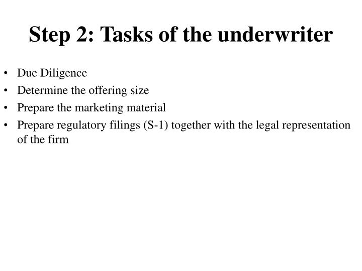 Step 2: Tasks of the underwriter