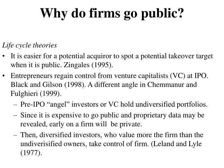 Why do firms go public