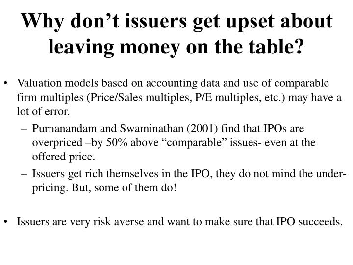 Why don't issuers get upset about leaving money on the table?