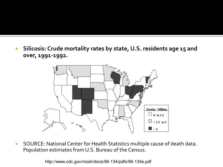 Silicosis: Crude mortality rates by state, U.S. residents age 15 and over, 1991-1992.