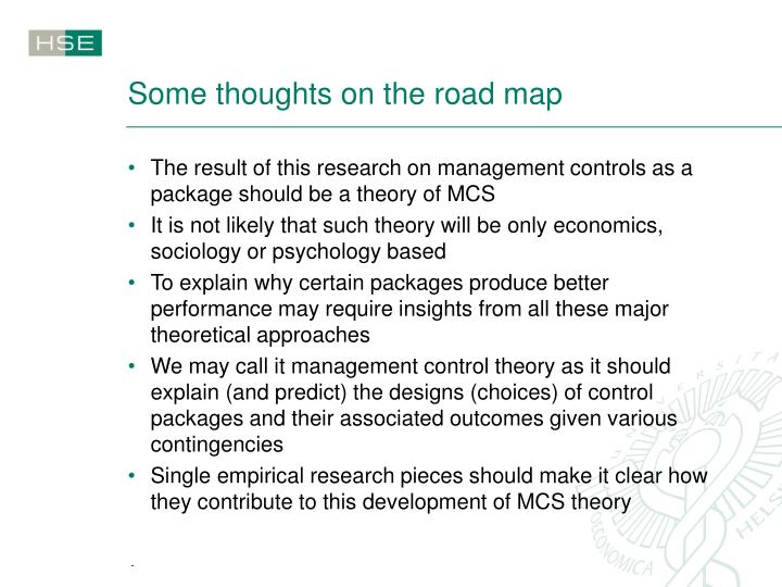 Some thoughts on the road map
