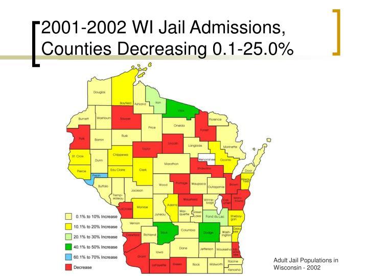 2001-2002 WI Jail Admissions, Counties Decreasing 0.1-25.0%