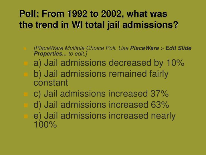 Poll: From 1992 to 2002, what was the trend in WI total jail admissions?