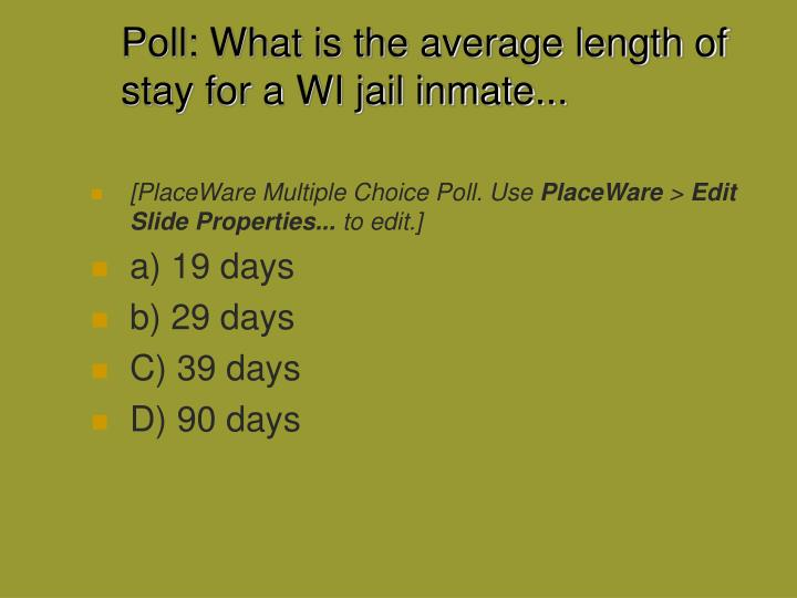 Poll: What is the average length of stay for a WI jail inmate...