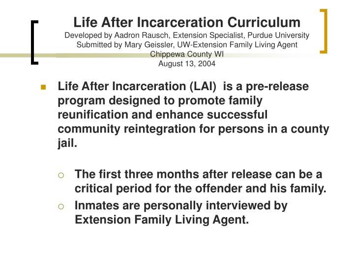 Life After Incarceration Curriculum