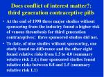 does conflict of interest matter third generation contraceptive pills