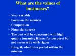 what are the values of businesses