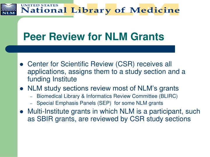 Peer Review for NLM Grants