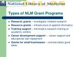types of nlm grant programs