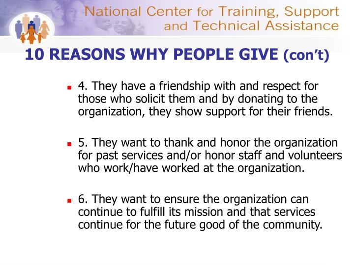 10 REASONS WHY PEOPLE GIVE