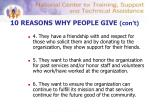 10 reasons why people give con t