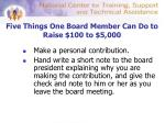 five things one board member can do to raise 100 to 5 000