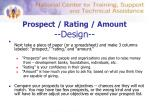 prospect rating amount design