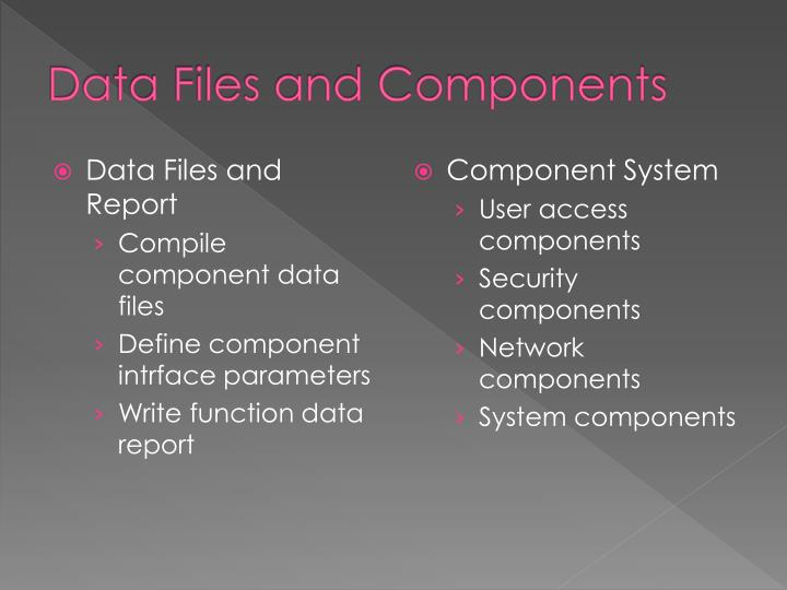 Data files and components