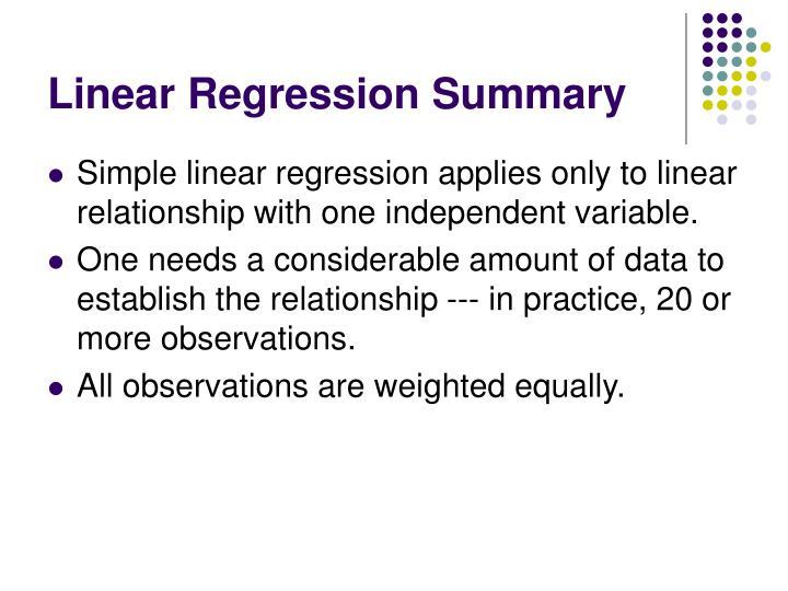 Linear Regression Summary