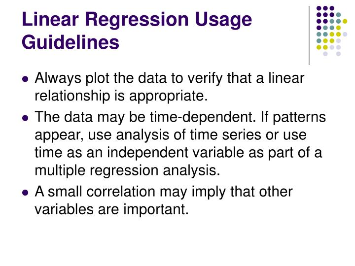Linear Regression Usage Guidelines
