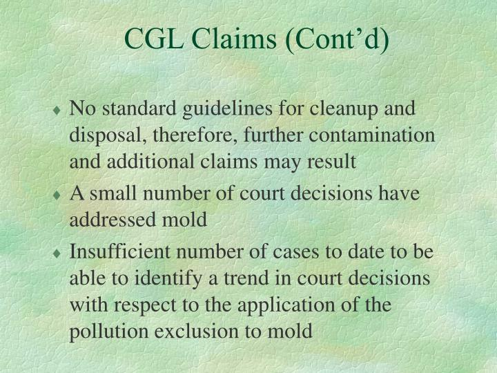 CGL Claims (Cont'd)