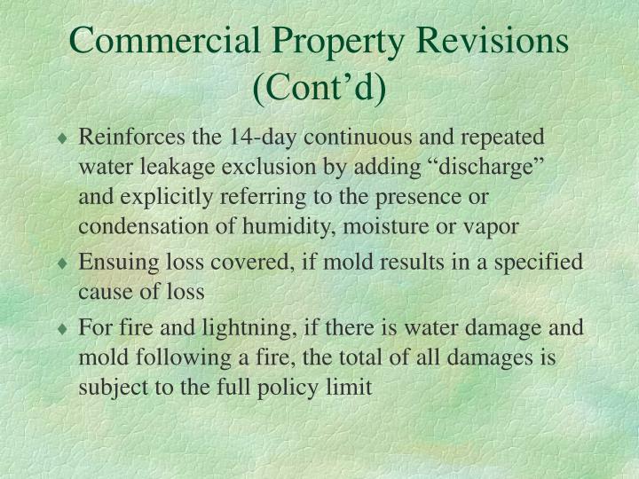 Commercial Property Revisions (Cont'd)