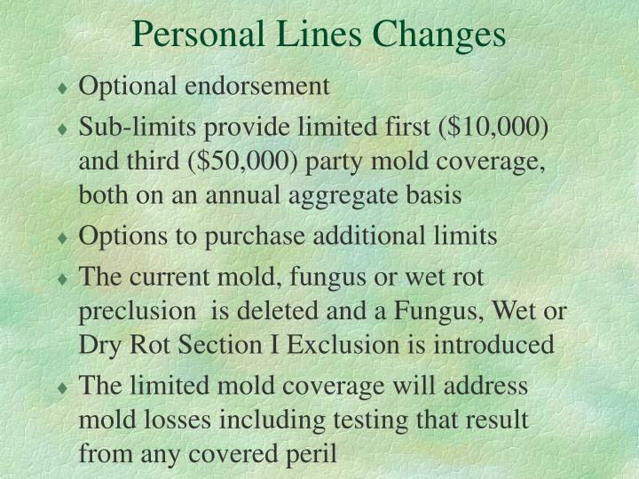 Personal Lines Changes
