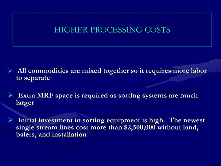 HIGHER PROCESSING COSTS