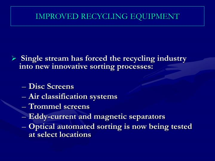 IMPROVED RECYCLING EQUIPMENT