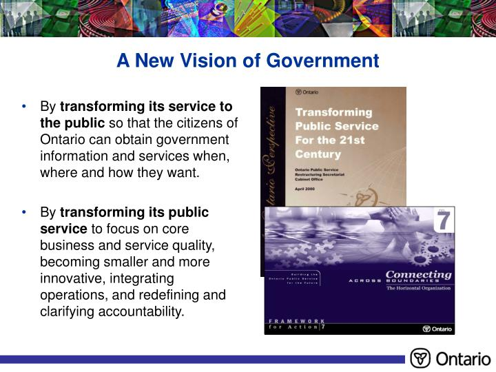 A New Vision of Government
