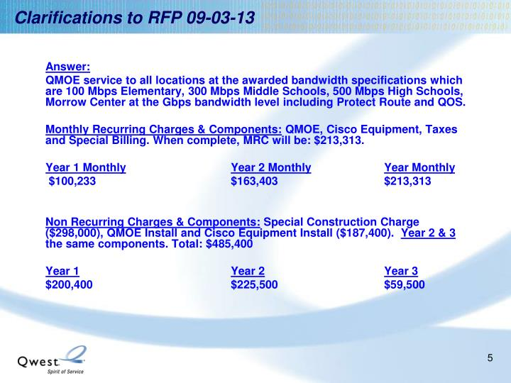 Clarifications to RFP 09-03-13