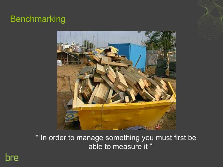 """"""" In order to manage something you must first be able to measure it """""""