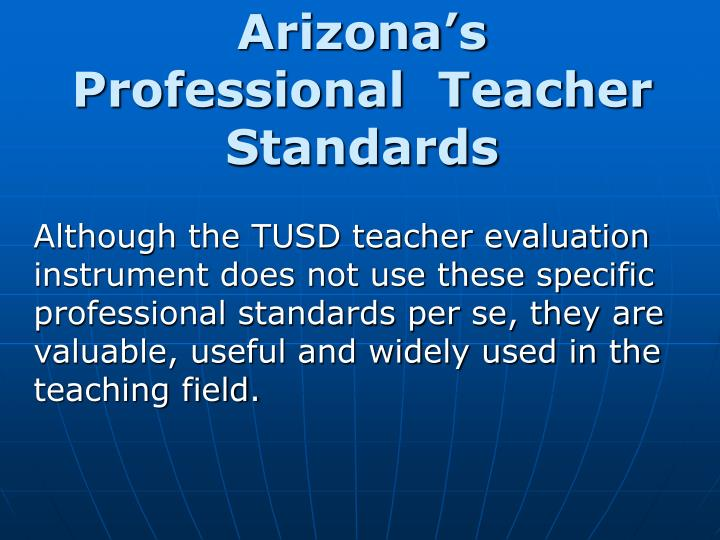 Arizona's Professional  Teacher Standards
