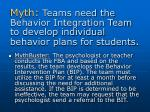 myth teams need the behavior integration team to develop individual behavior plans for students