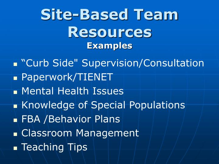 Site-Based Team Resources
